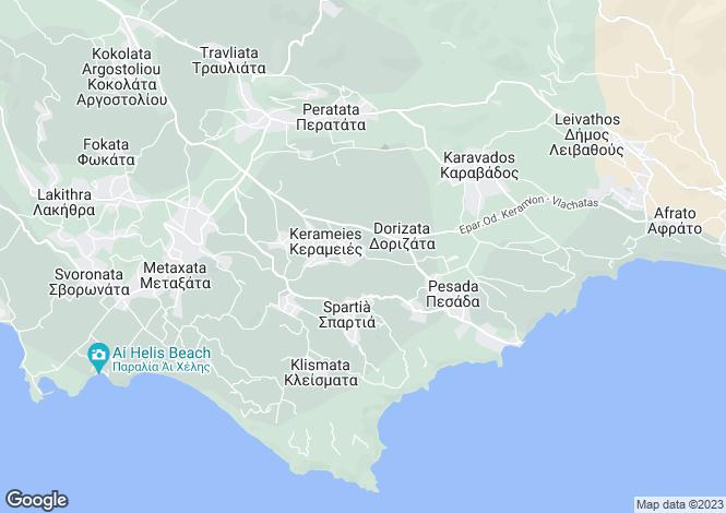 Map for Ionian Islands, Cephalonia, Keramies