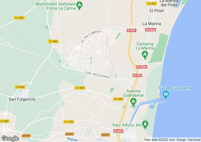 Map for San Fulgencio, Alicante, Valencia