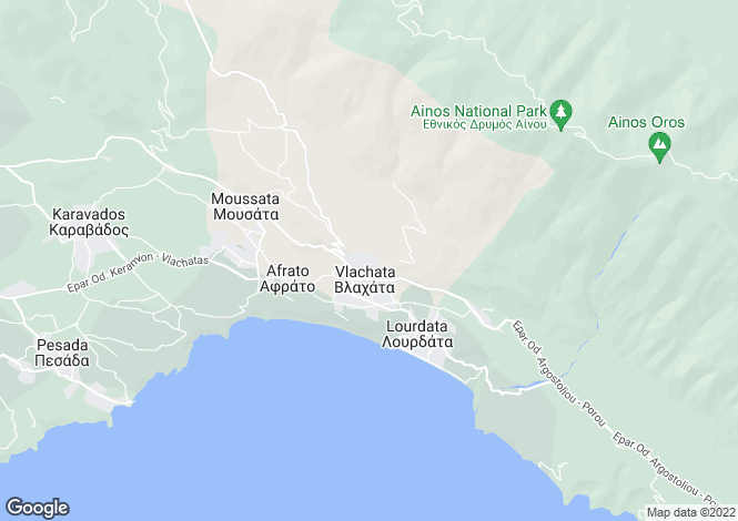 Map for Ionian Islands, Cephalonia, Vlahata