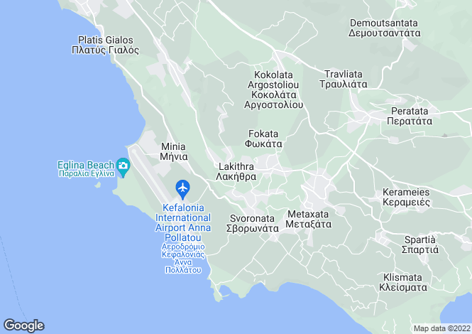 Map for Ionian Islands, Cephalonia, Lakithra