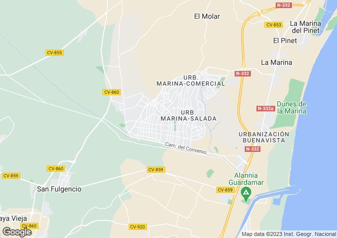 Map for Valencia, Alicante, La Marina