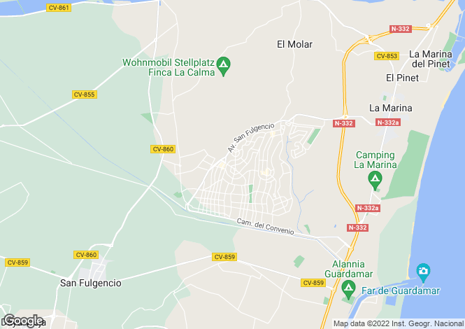 Map for La Marina, Alicante, Valencia