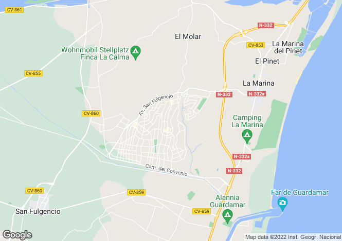 Map for Valencia, Alicante, San Fulgencio