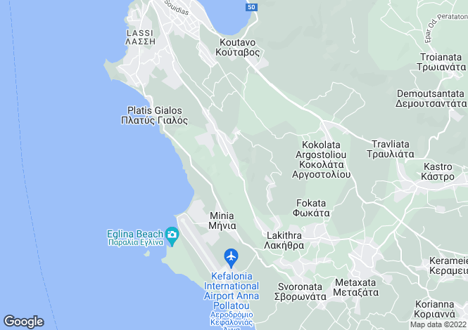 Map for Ionian Islands, Cephalonia, Kobothekrata