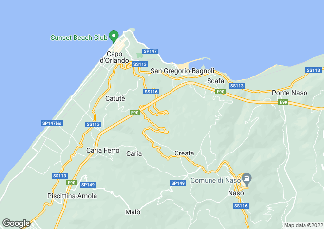 Map for Naso, Messina, Sicily