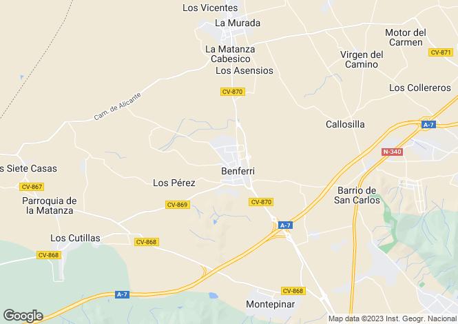 Map for Benferri, Alicante, Valencia