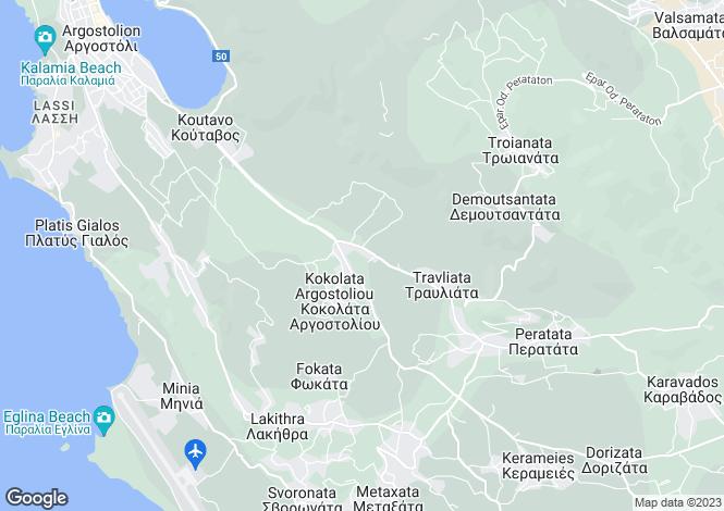 Map for Ionian Islands, Cephalonia, Kokilia