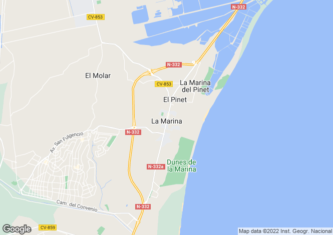 Map for La Marina, Alicante, Spain