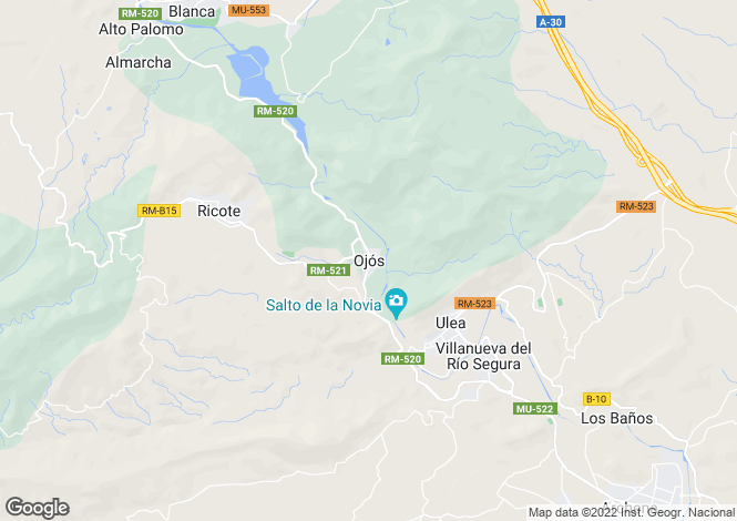 Map for Ojos, Ricote Valley, Murcia