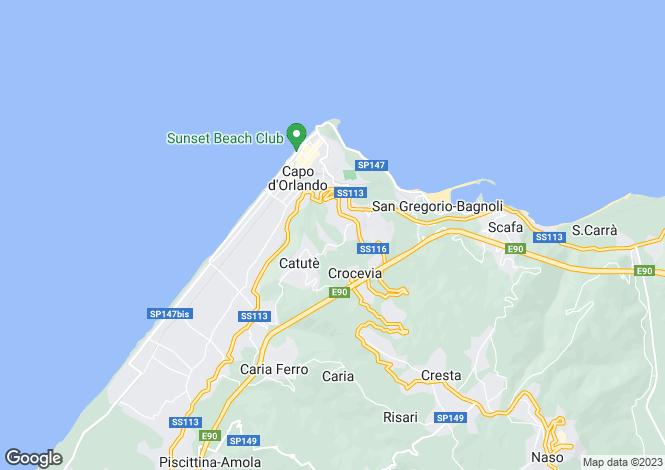 Map for Capo d`Orlando, Messina, Sicily