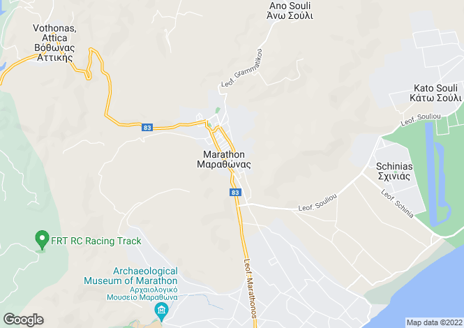 Map for Attica, Marathonas