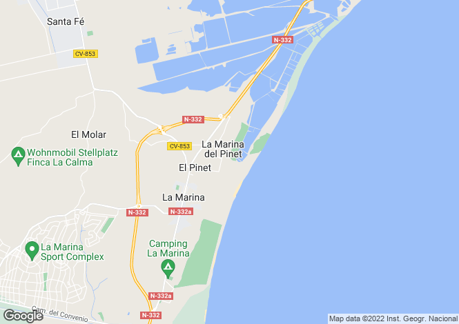 Map for Valencia, Alicante, La Marina Del Pinet