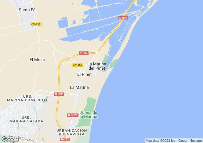 Map for La Marina Del Pinet, Alicante, Valencia
