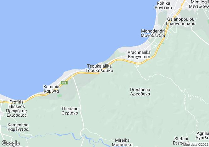 Map for Peloponnese, Achaea, Vrachnaiika