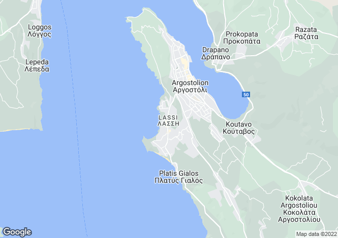 Map for Ionian Islands, Cephalonia, Lassi