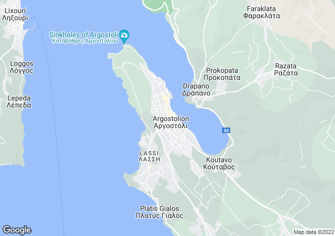 Map for Argostoli, Cephalonia, Ionian Islands