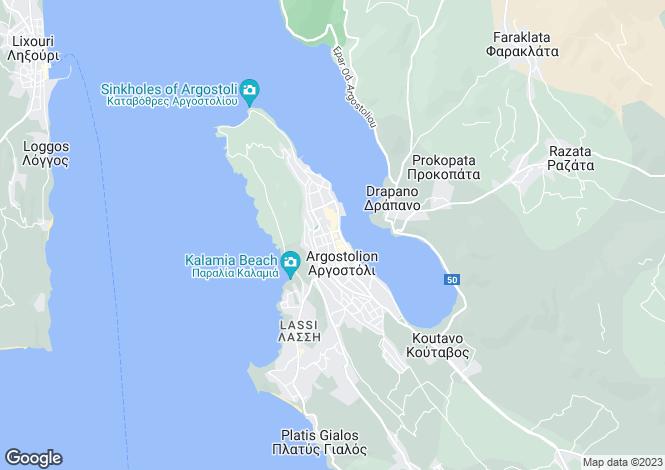 Map for Ionian Islands, Cephalonia, Argostoli