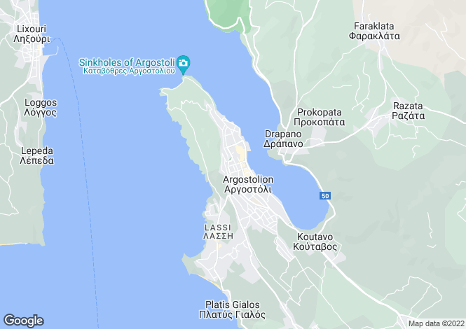 Map for Argostoli, Cephalonia, Ionian Islands