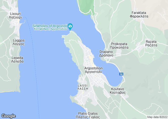 Map for Ionian Islands, Cephalonia, Argostoli