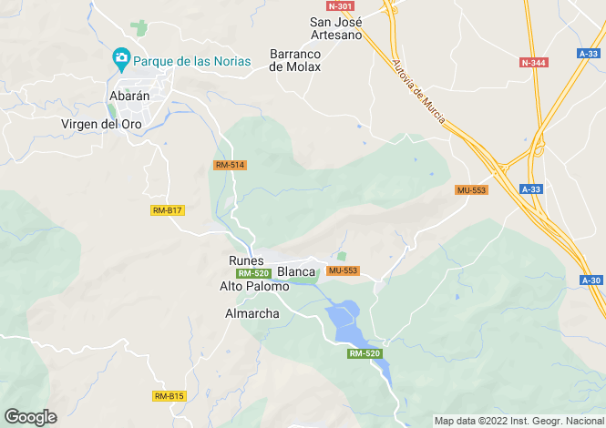 Map for Blanca, Ricote Valley, Murcia