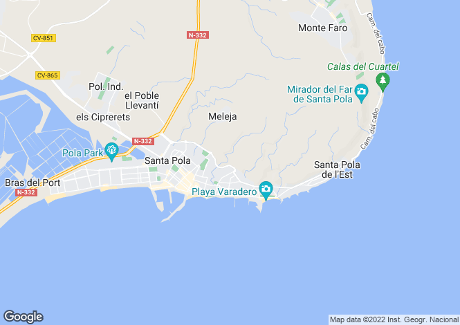 Map for Spain - Valencia, Alicante, Santa Pola