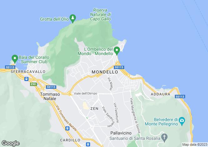 Map for Mondello, Palermo, Sicily