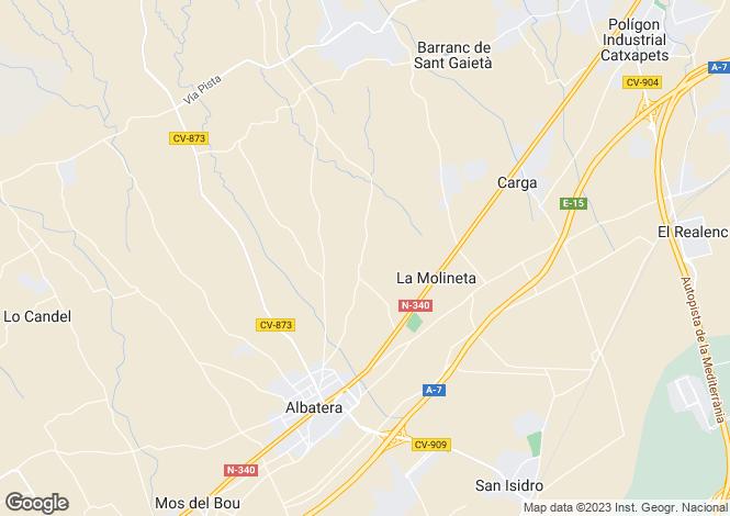 Map for Valencia, Alicante, Albatera
