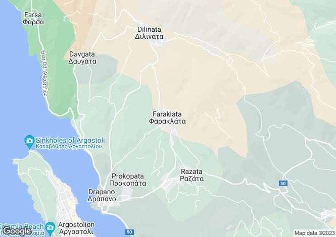 Map for Ionian Islands, Cephalonia, Faraklata