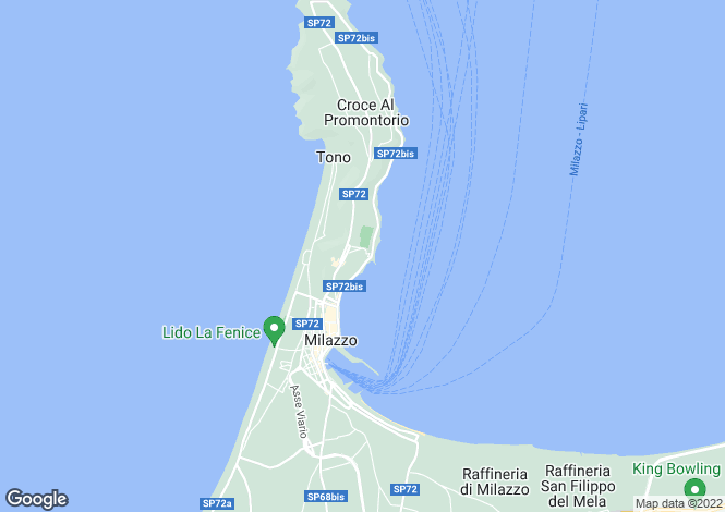 Map for Milazzo, Messina, Sicily