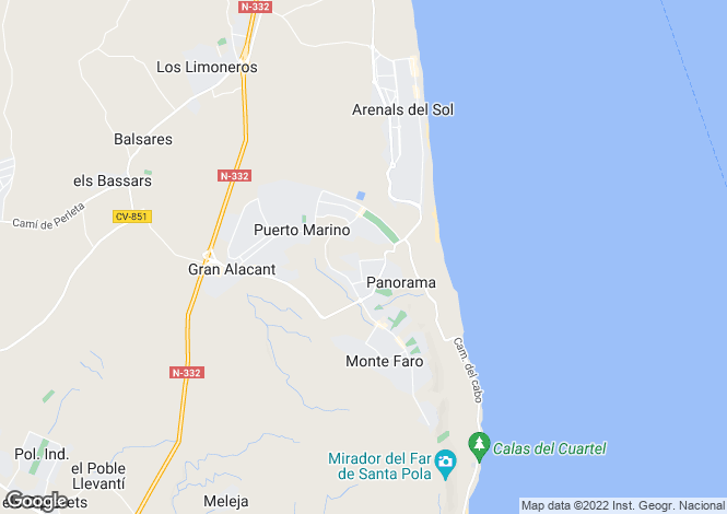 Map for Arenales, Alicante, 3130, Spain