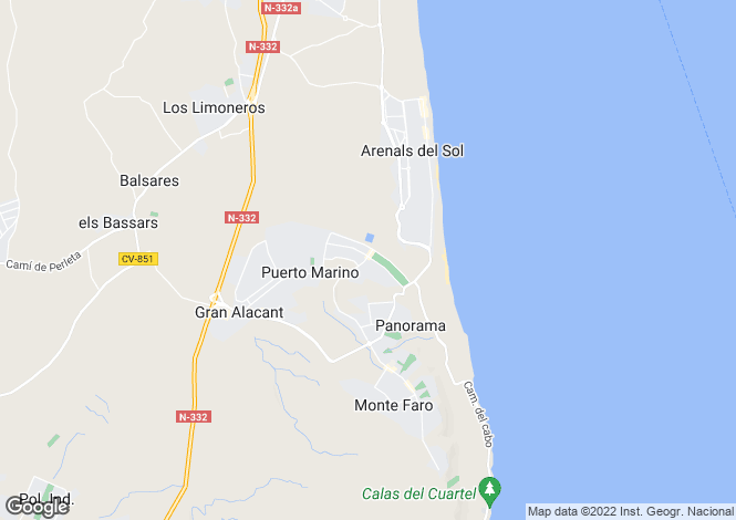 Map for Gran Alacant, Alicante, Spain