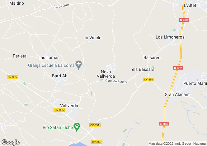 Map for Valverde, Alicante, Spain