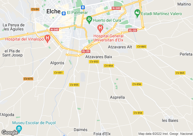 Map for Elche, Alicante