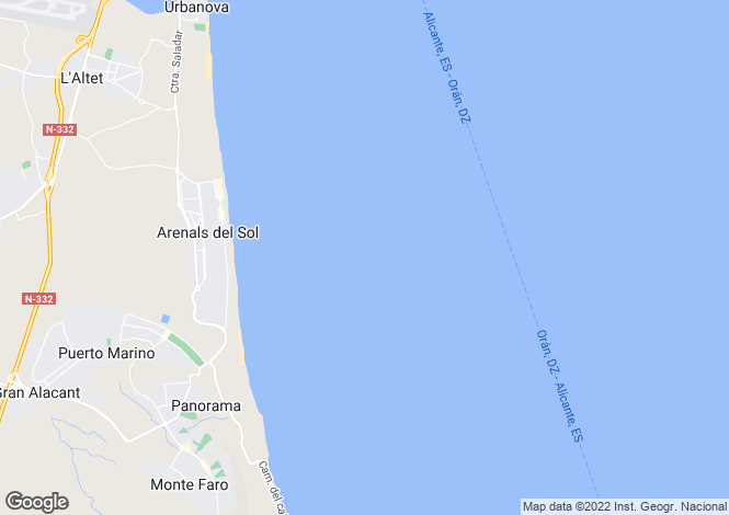 Map for Los Arenales del Sol, Alicante, Valencia