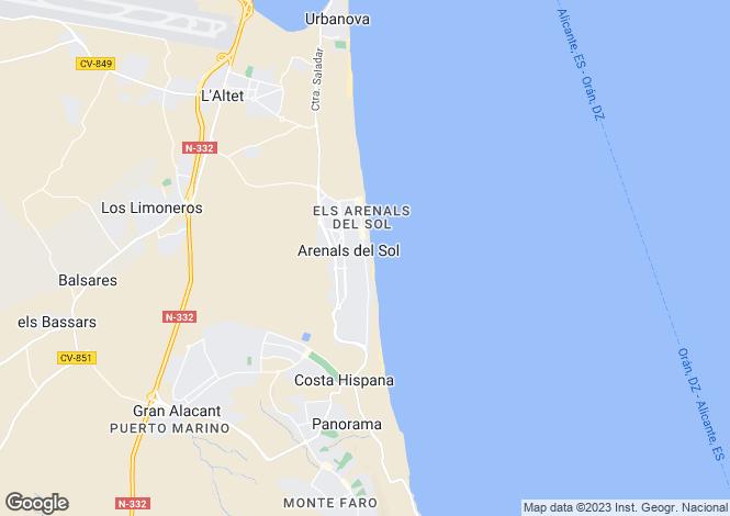 Map for Arenales Del Sol, Alicante, Spain