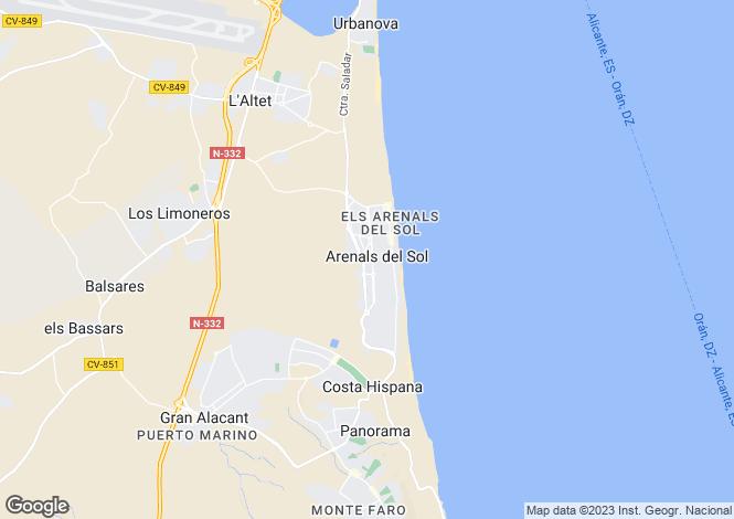 Map for Los Arenales del Sol, Elche/Elx, Alicante