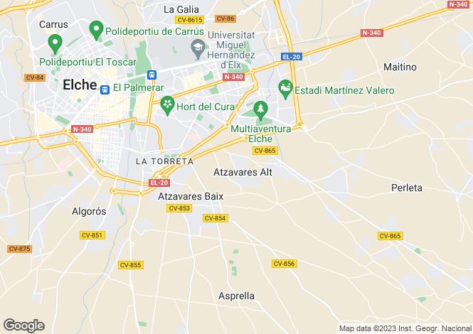 Map for Valencia, Alicante, Elche-Elx