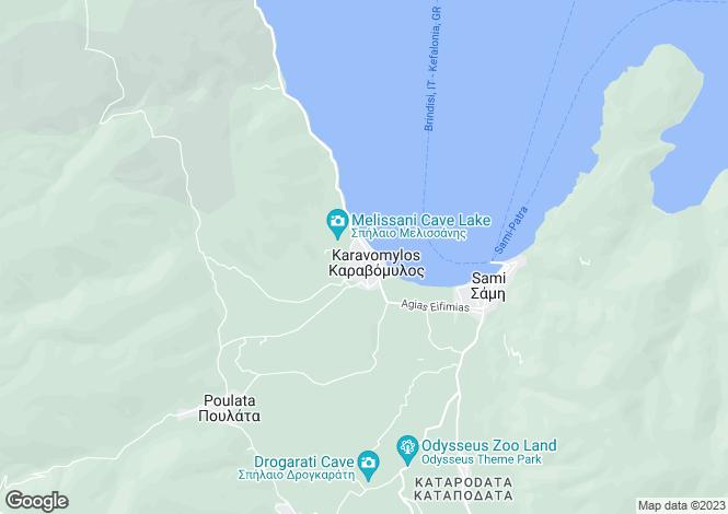 Map for Ionian Islands, Cephalonia, Karavomilos