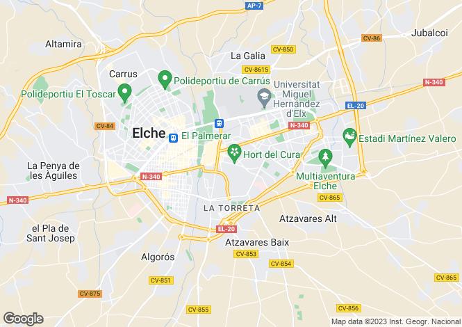 Map for Elche, Alicante, Valencia