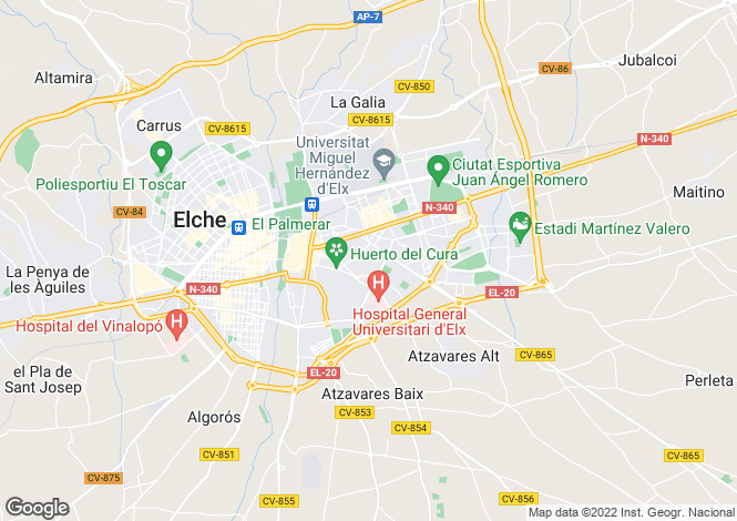 Map for Valencia, Alicante, Elche-Elx