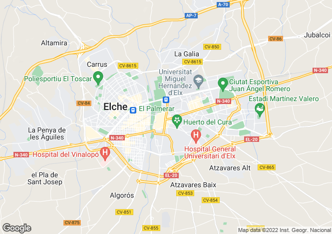 Map for Valencia, Alicante, Elche