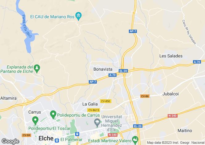 Map for Elche, Alicante, Spain