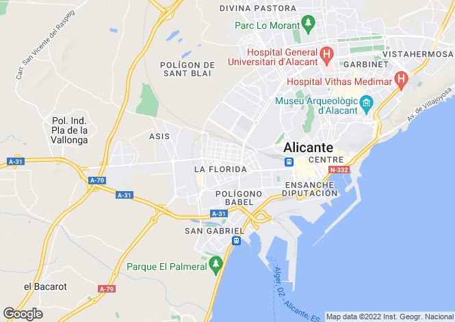 Map for Spain - Valencia, Alicante, Orihuela Costa