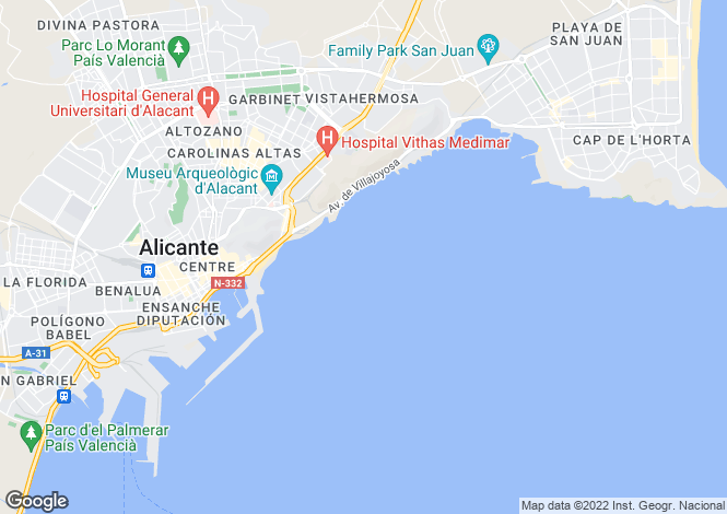 Map for Spain - Valencia, Alicante, Alicante