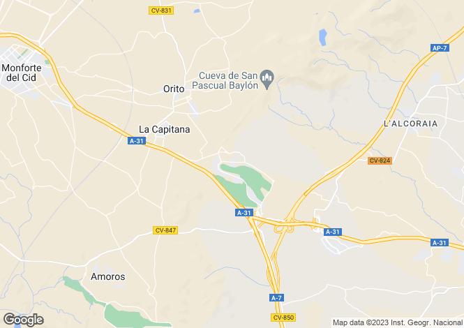 Map for Valencia, Alicante, Monforte del Cid