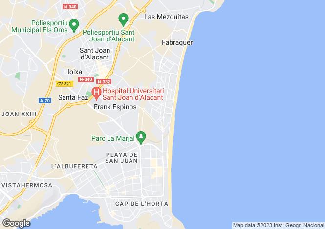 Map for San Juan, Alicante, Spain