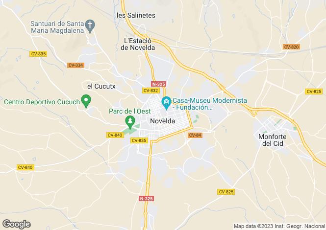 Map for Valencia, Alicante, Novelda