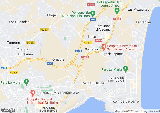 Map for Valencia, Alicante, Alicante
