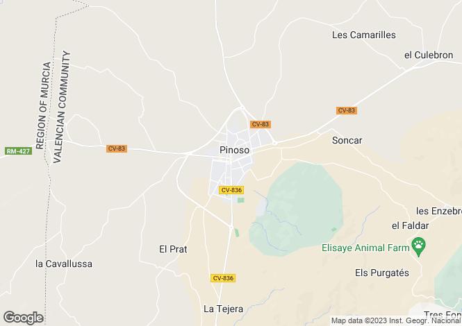 Map for Pinoso, Alicante, Spain