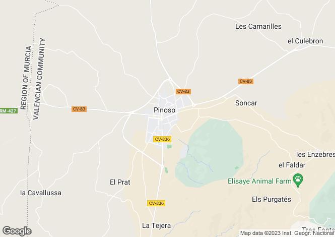 Map for Pinoso, Alicante, Valencia